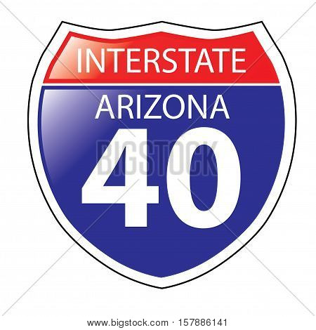Layered artwork of Arizona I-40 Interstate Sign