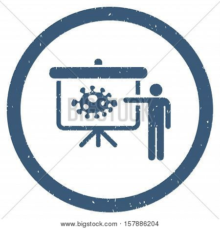 Bacteria Lecture grainy textured icon inside circle for overlay watermark stamps. Flat symbol with dirty texture.
