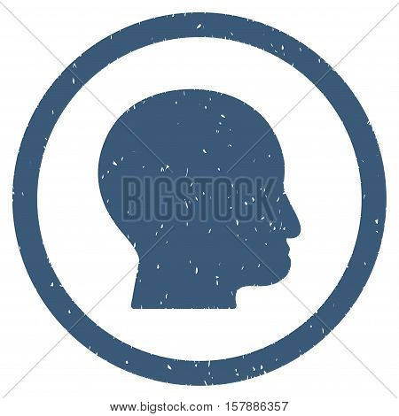 Bald Head grainy textured icon inside circle for overlay watermark stamps. Flat symbol with unclean texture. Circled dotted vector blue ink rubber seal stamp with grunge design on a white background.