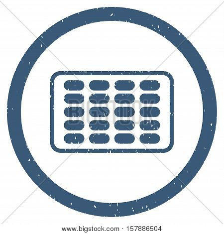 Blister grainy textured icon inside circle for overlay watermark stamps. Flat symbol with scratched texture. Circled dotted vector blue ink rubber seal stamp with grunge design on a white background.