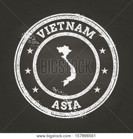 White Chalk Texture Grunge Stamp With Socialist Republic Of Vietnam Map On A School Blackboard. Grun