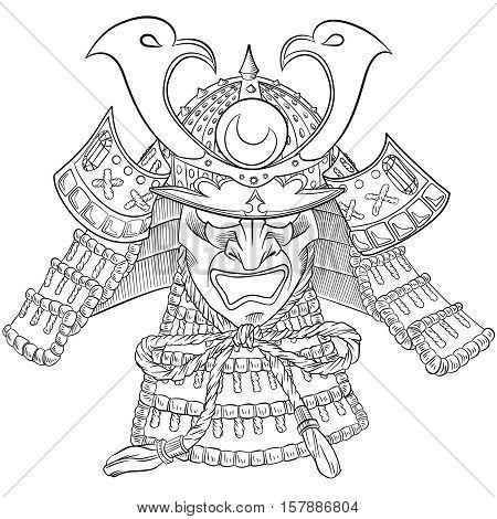 Samurai Japan Mask. Japanese print with samurai mask. Vector illustration.