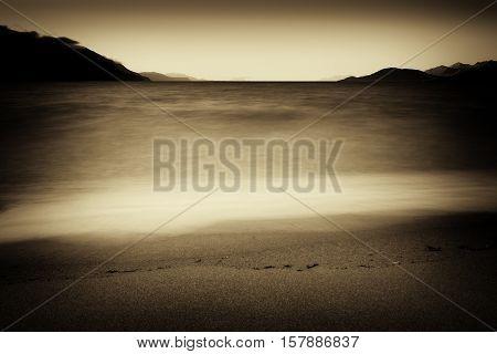 Vintage sepia tidal waves landscape background hd