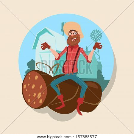 Farmer Sit On Big Wurst Butcher Animal Farm Flat Vector Illustration