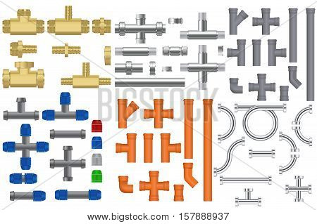 Pipes set. Metal pipe, bronze pipe, chrome pipes with fitting, Quick connection to garden hoses, Plastic sewer pipe.