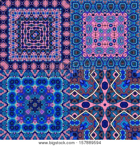 Vector set of four beautiful oriental pattern in pink and blue tones. Pillowcase or bandana print.