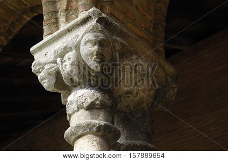 sculptures in the Cloister Church of Jacobins in Toulouse France