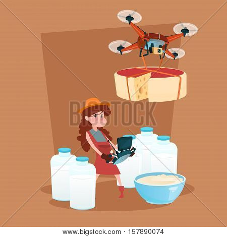 Small Girl Hold Remote Controller Drone Delivery Milk Dairy Products Eco Fresh Farming Flat Vector Illustration