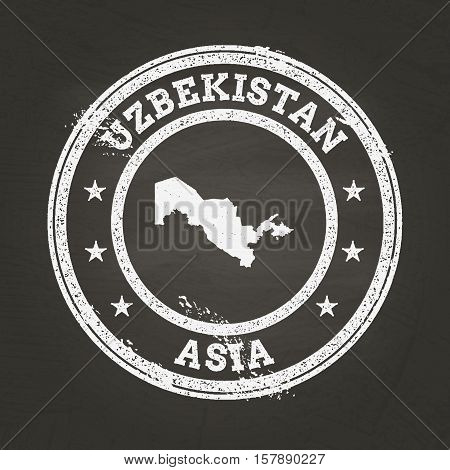 White Chalk Texture Grunge Stamp With Republic Of Uzbekistan Map On A School Blackboard. Grunge Rubb