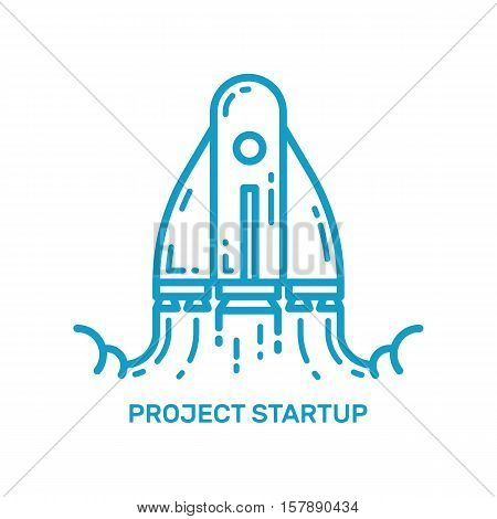 Vector illustration of flying rocket ship in line style. Space rocket launch. Project concept start up business and development process. Innovation product, creative idea. Management outline icon.
