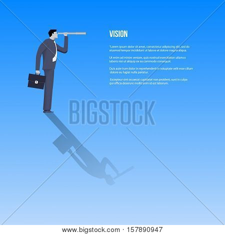 Vision business template. Confident businessman in business suit with case and looking glass searching for new opportunities. Vector illustration.