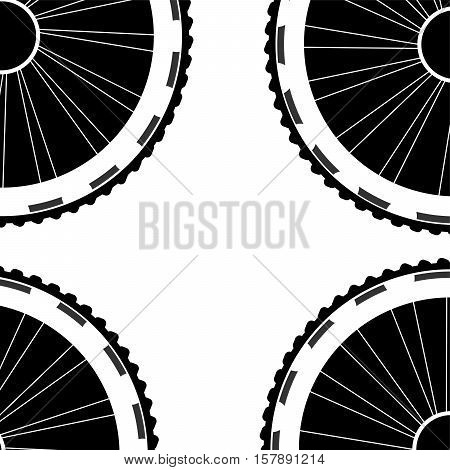 Bike Wheels Background Pattern. Pattern Of Bicycle Wheels. Bicycle Wheels With Tyre And Spokes