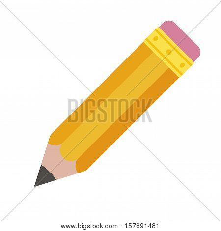 Pencil eraser. Orange graphite pencil with pink rubber on top. Vector illustration isolated on white background