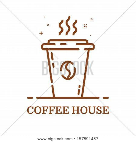 Vector illustration of emblem concept coffee house in line style. Linear brown cup. Icon Design for internet, banner, web page and mobile app. Outline object e-commerce. Coffee shop label, logo.