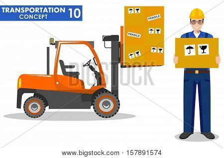 Detailed illustration of forklift and workman hold the box in flat style on white background.