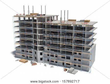 3d rendering of a building under construction with scaffolding and different construction equipment. Homebuilding and renovating. Urban planning. Structural construction.