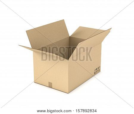 3d rendering of an open light beige cardboard mail box isolated on a white background, three quarters view. Postal services. Packing and crating. Storage of different products.