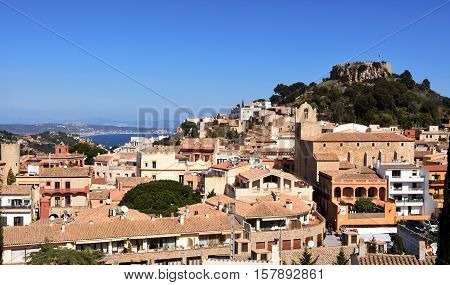 View of the village of Begur in a sunny day