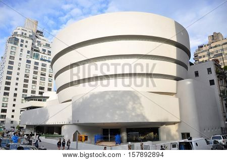 NEW YORK CITY - OCT 4, 2011: Solomon R. Guggenheim Museum, Upper East Side, New York City, USA.