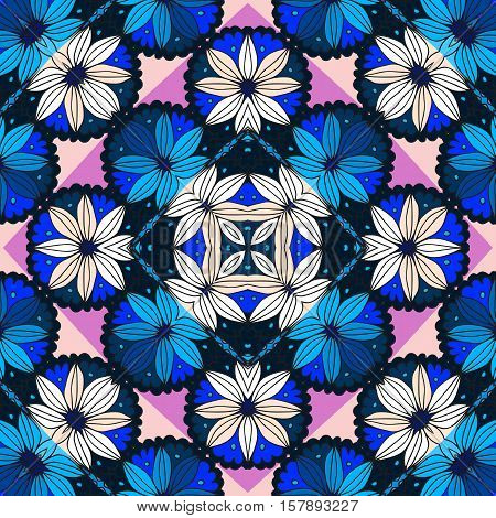 Beautiful seamless pattern with daisy and pink and blue rhombuses- 3