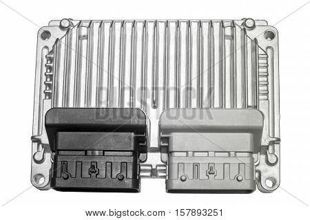 The engine control unit of the car Isolated on white background