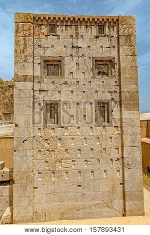 Naqsh-e Rustam's historical monument Cube of Zoroaster is enigmatic structure and one of many surviving examples of the Achaemenid architectural design.