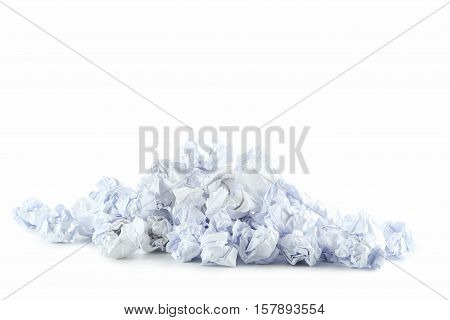 Crumpled Paper Balls Isolated On A White
