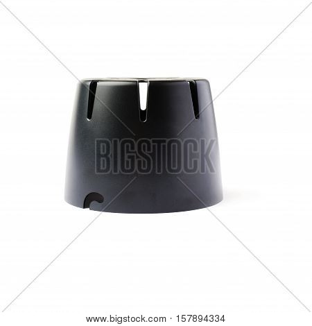 Black studio flash protective cover isolated white background