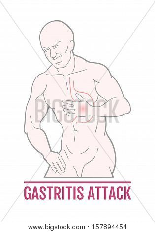 medical illustration of stomach pain in humans. an attack of gastritis. scheme for textbooks. internal organs.