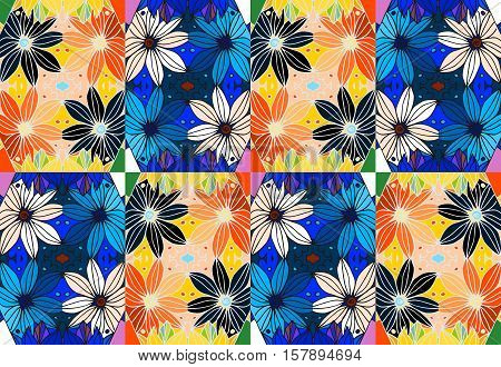 Vector set of ceramic tiles with colorful daisies.
