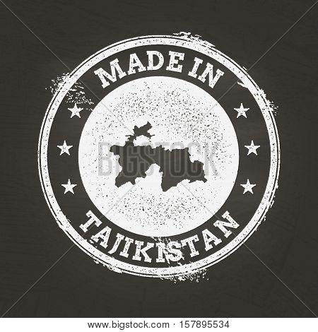 White Chalk Texture Made In Stamp With Republic Of Tajikistan Map On A School Blackboard. Grunge Rub