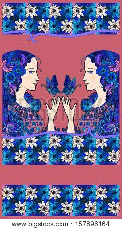 Chocolate packaging design. Two beautiful girl with butterflies and pattern of daisies - 2.