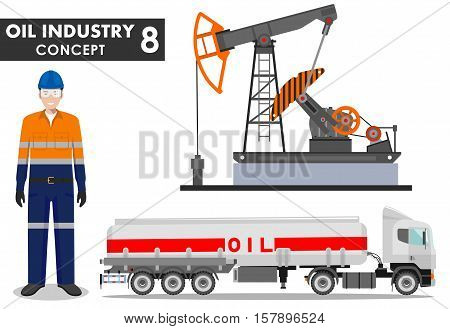 Detailed illustration of gasoline truck oil pump and workman in flat style on white background.