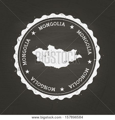 White Chalk Texture Rubber Stamp With Mongolia Map On A School Blackboard. Grunge Rubber Seal With C