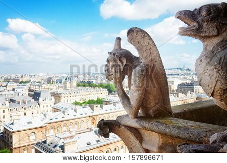 Gargoyle of Paris on Notre Dame Cathedral church and Paris cityscape from above, France, retro toned