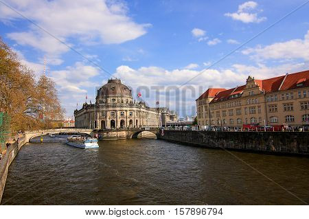 View on the Bode Museum and the river Sprea in Berlin Germany - 17.04.2012.