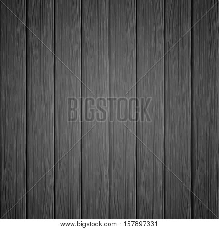 Black background with the texture of a old wooden boards, vintage floor from dark wood, illustration.
