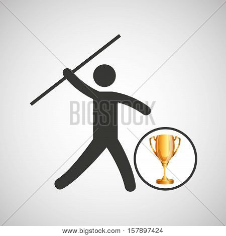 silhouette man javelin athlete trophy vector illustration eps 10