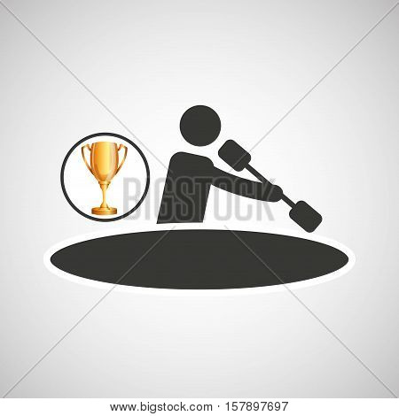 silhouette man canoe rowing athlete trophy vector illustration eps 10
