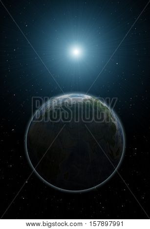 Realistic space landscape: the view of planet Earth and the Sun from space, black background with stars shining in distance. Universe illustration. Solar system planets. Celestial bodies.