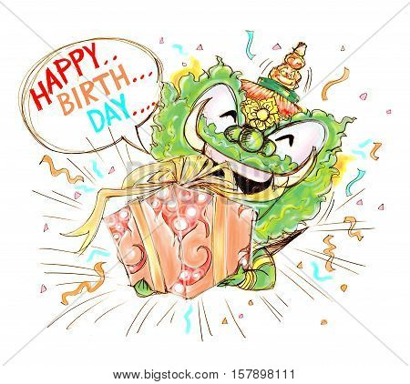 Thai Giant Cartoon Happy Birthday have gift box Thai art to some one Character design have pencil freehand sketch black and white and paint on white background isolate.
