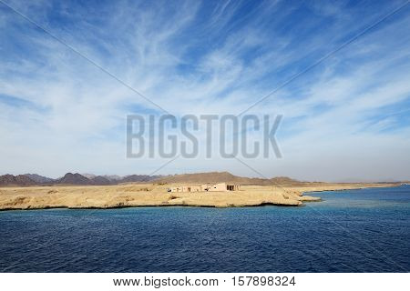 The building on shore in Sharm el Sheikh peninsula Egypt
