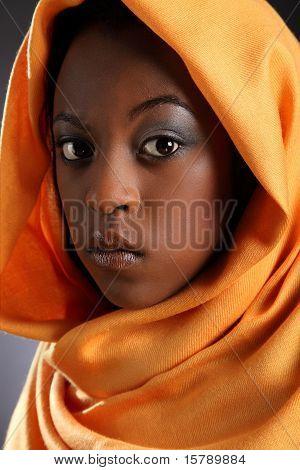 Beautiful black girl in headress