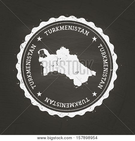 White Chalk Texture Rubber Stamp With Turkmenistan Map On A School Blackboard. Grunge Rubber Seal Wi