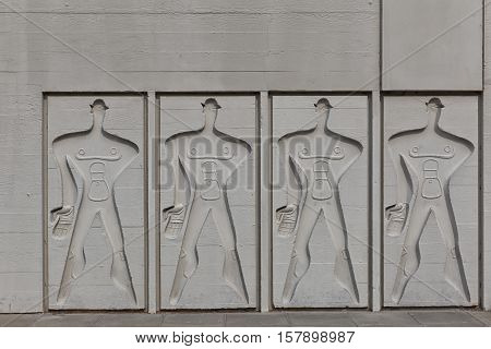 BERLIN GERMANY - JULY 2014: The Modular Man on a side wall of Corbusier Haus was designed by Le Corbusier in 1957 following his concept of Unite d'Habitation (Housing Unit)