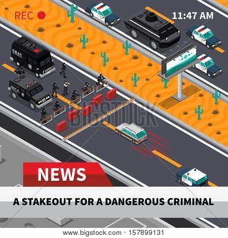 Swat special weapon and tactics unit confrontation with dangerous criminals tv news isometric composition screenshot vector illustration