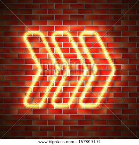Realistic neon arrow sign hanging on brick wall. Vector illustration