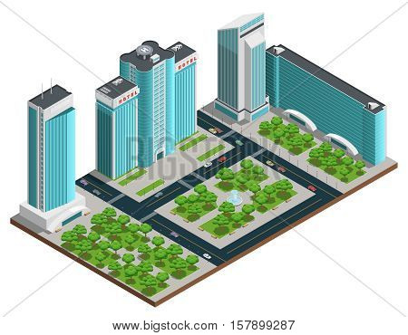 Modern cityscape isometric composition with many storeyed buildings and green parks on white background vector illustration