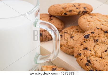 Oatmeal Cookies And Milk For Breakfast Close-up