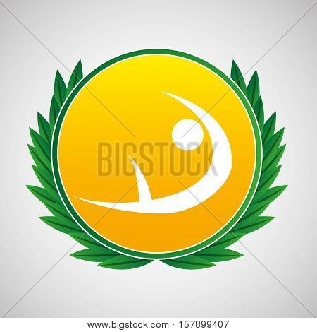 artistic gymnatic symbol label laurel wreaths vector illustration eps 10